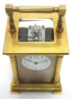Antique Striking French 8-day Carriage Clock Unusual Masked Dial Case with Enamel Dial (8 of 11)