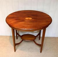 Oval Inlaid Occasional Mahogany Table (4 of 9)