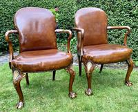 Pair of Leather Queen Anne Style Armchairs (5 of 10)