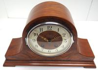 Walnut Hat-Shaped English  8-Day Mantel Clock with Silver & Walnut Dial (8 of 8)