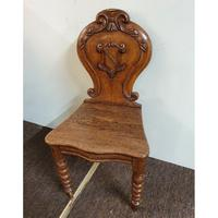 Victorian Oak Armorial Hall Chair (3 of 7)