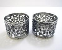 Pair of Antique English Victorian Style Solid Sterling Silver Serviette Napkin Rings. Cased / Original Box (5 of 7)