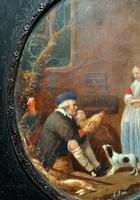After: Gabriel Metsu (1629-1667) 'The Game Seller' 19thc Miniature Oil Painting (6 of 12)