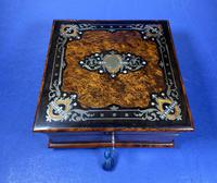 Victorian  French Burr Cedar Jewellery Box with ebonised fruitwood and original interior (13 of 13)