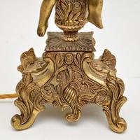 Antique French Gilt Metal Cherub Lamp (6 of 9)