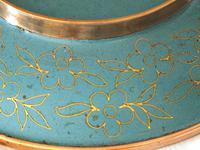 Fine Japanese Blue Cloisonné Orchid Plate (3 of 4)