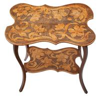 Shaped Beech Pokerwork Occasional Side Table c.1900 (2 of 6)