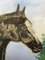Impressionist Oil Painting Prized Thoroughbred Equestrian Black Horse Portrait (10 of 13)