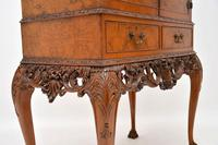 Antique Queen Anne Style Burr Walnut Cocktail Cabinet (10 of 11)