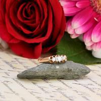 The Antique White Tipped Three Diamond Ring