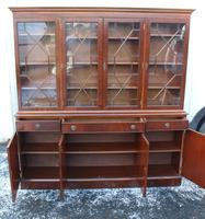 1960s Large 4 Door Mahogany Bookcase with Glazed Top (4 of 4)