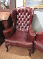 Superb Antique Leather Buttoned Wing Armchair (8 of 8)
