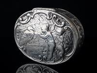 Antique Victorian silver snuff box, Fairies