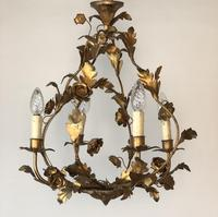 Antique French Birdcage Style Gilt Toleware Ceiling Light Chandelier With Roses (5 of 10)
