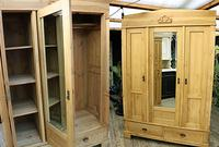 Fabulous & Large Old Pine Triple 'Knock Down' Wardrobe - We Deliver!