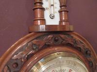 Antique Walnut 'Pendant' Small Banjo Barometer (5 of 8)