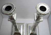 """Antique Victorian 10"""" tall ADAM STYLE Silver Plated English Candlesticks Candle Holders (3 of 9)"""