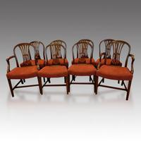Set of 8 Edwardian mahogany Hepplewhite dining chairs