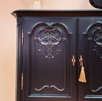 French Antique Style Cabinet / Black Cupboard / Louis XV Style (6 of 10)