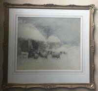 David Thomas Robertson Watercolour - Feeding Sheep in Snowy Winter (2 of 2)