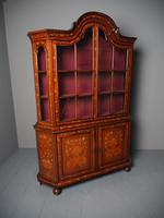 Antique Dutch Marquetry Inlaid Walnut Display Cabinet (4 of 11)