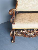 Charles II Style Gilded Walnut Humpback Sofa (8 of 11)