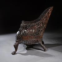 Exceptional 19th Century Anglo Indian Carved Teak Armchair (9 of 9)