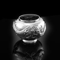 Antique Solid Silver Japanese Condiment Pot / Bowl - Meiji c.1900 (4 of 14)