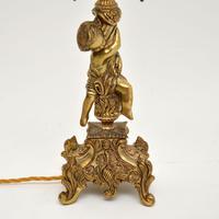 Antique French Gilt Metal Cherub Lamp (4 of 9)