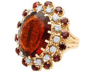 17.67ct Citrine & 1.33ct Diamond, 18ct Yellow Gold Dress Ring - Vintage French c.1950 (3 of 9)