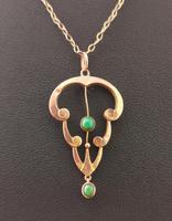 Antique Art Nouveau Turquoise Lavalier Pendant, 9ct Rose Gold, Necklace (6 of 10)