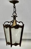 French Brass & Etched Glass Lantern Hall Light (4 of 6)