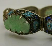 Superb Chinese Solid Silver Gilt Enamel & Jade Bracelet c.1920 Antique (11 of 12)