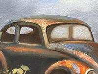 """Oil Painting """"Unloved Abandoned VW Beetle Car"""" Signed David Robert (10 of 27)"""