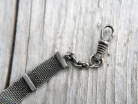 Victorian Silver Mesh Fob Chain with Rose Gilt Details & Star Fob, Antique c.1890 (6 of 11)