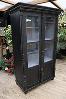 Fabulous Old Pine / Black Painted Glazed Cupboard / Display Cabinet - We Deliver! (8 of 12)
