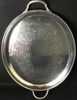 Cased Silver Plated George VI Oval Butlers Tray (3 of 3)