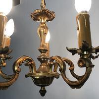 French Petite Gilt Bronze Chandelier 5 Arm Ceiling Light (6 of 9)