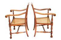 Pair of William & Mary Revival Bergere Elbow Chairs c.1930 (4 of 6)