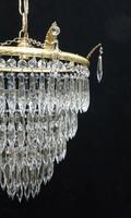 Italian Art Deco Five Tier Crystal Glass Chandelier, 1930s (4 of 7)