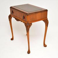 Antique Burr Walnut Leather Top Writing Table / Desk (4 of 10)