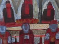 Large watercolour Temple Scene Listed Vietnamese artist Kha Nygun (3 of 10)