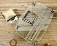 Art Deco Glass and Brass Desk Inkwell with Pen Rest (6 of 8)