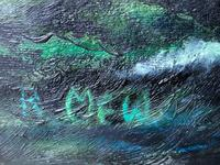 "Large Seascape Oil Painting WW2 Battle ""HMS Battleship Hood The Last Moments"" (3 of 12)"