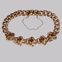 Victorian Garnet Knot & Curb Link 9ct Gold Bracelet with Antique Box c 1890 (4 of 11)