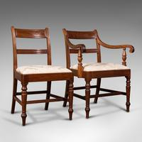 Set of 4, Antique Dining Chairs, English, Mahogany, Pair Of Carvers, Regency (2 of 12)