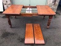 Antique Golden Oak Wind Out Extending Dining Table (6 of 11)