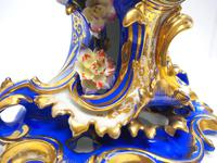Antique 8 Day Porcelain Mantel Clock Sevres Blue Floral French Mantle Clock (2 of 6)