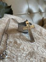 Silver cross and chain with forget me not detail. Birmingham 1897 (5 of 5)