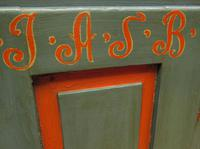 Antique Painted Swedish Cupboard with Vintage Saucy Lady Photos to the Interior (5 of 17)
